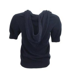 CHANEL Sweaters - Chanel Short Sleeve Cashmere Hoodie Navy Sweater